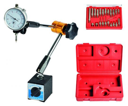 Magnet-Messstativ mit Messuhr und Messeinsätzen