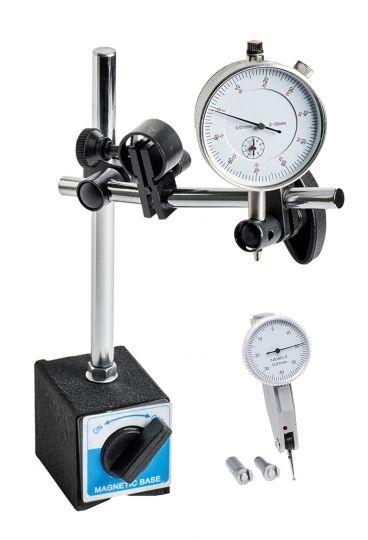 Magnet-Messstativ mit Messuhr und Fühlhebelmessgerät